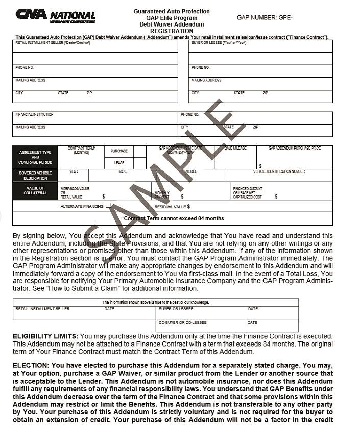 Cna National Warranty >> Cna National Warranty Corp Gap Documents